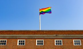 Pride Flag over Treasury Building