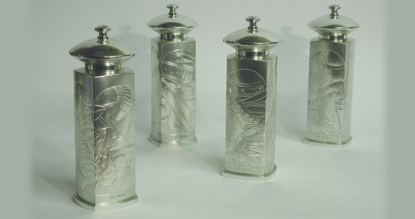 The 'Nugee' silver pepper mills, 1996