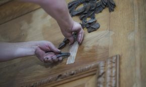 The Grinling Gibbons is removed piece by piece